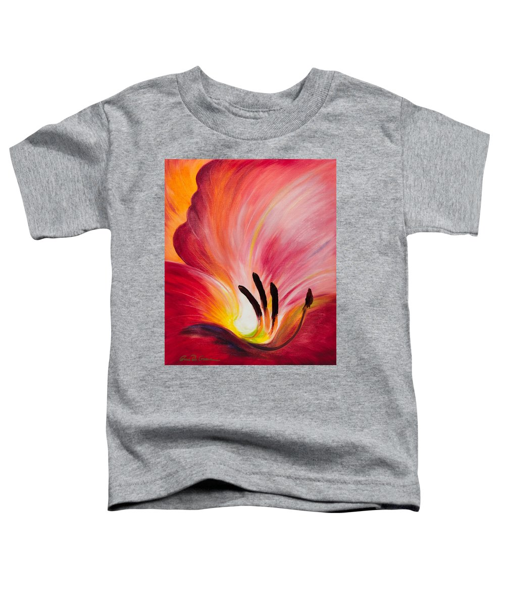 Red Toddler T-Shirt featuring the painting From The Heart Of A Flower Red I by Gina De Gorna