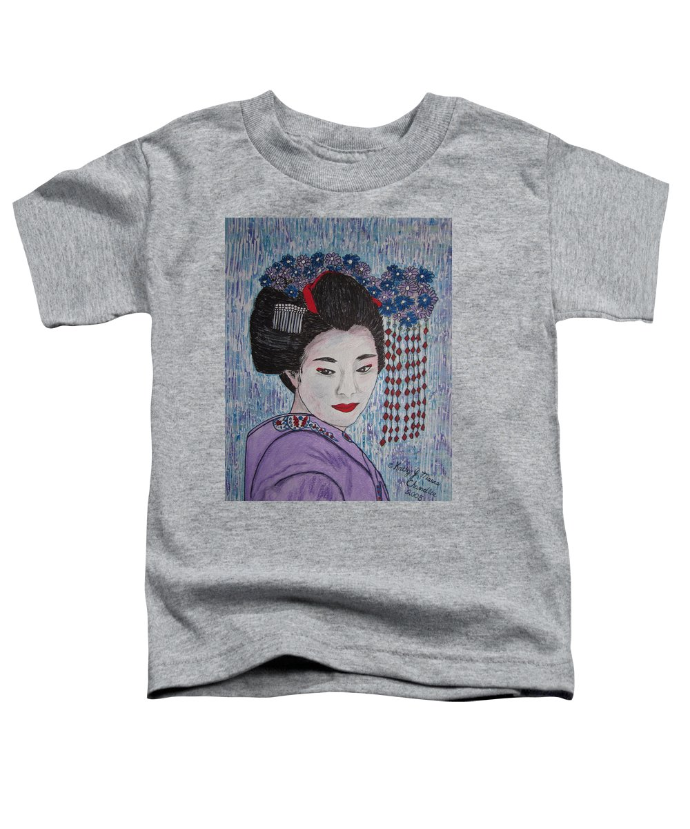 Oriental Toddler T-Shirt featuring the painting Geisha Girl by Kathy Marrs Chandler