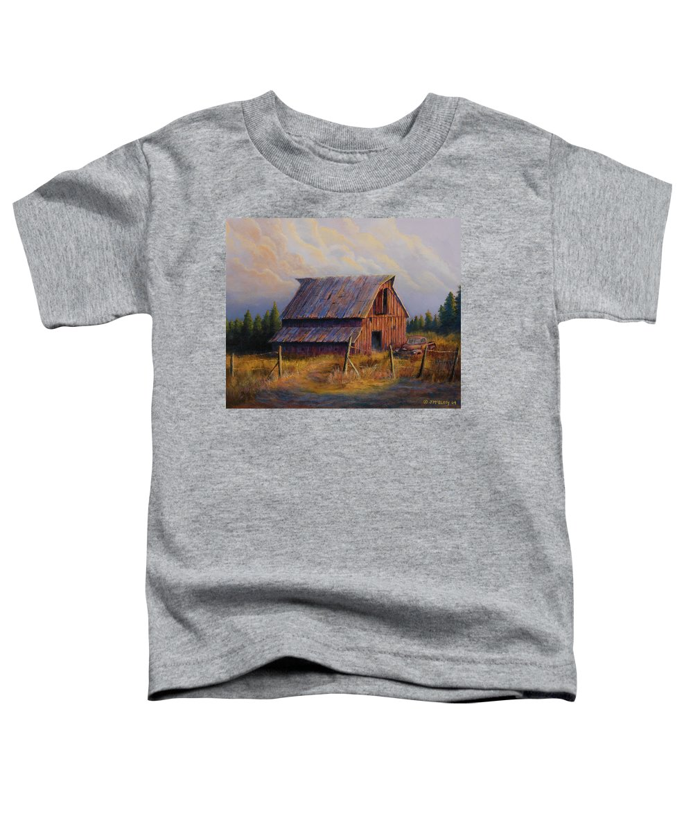 Barn Toddler T-Shirt featuring the painting Grandpas Truck by Jerry McElroy