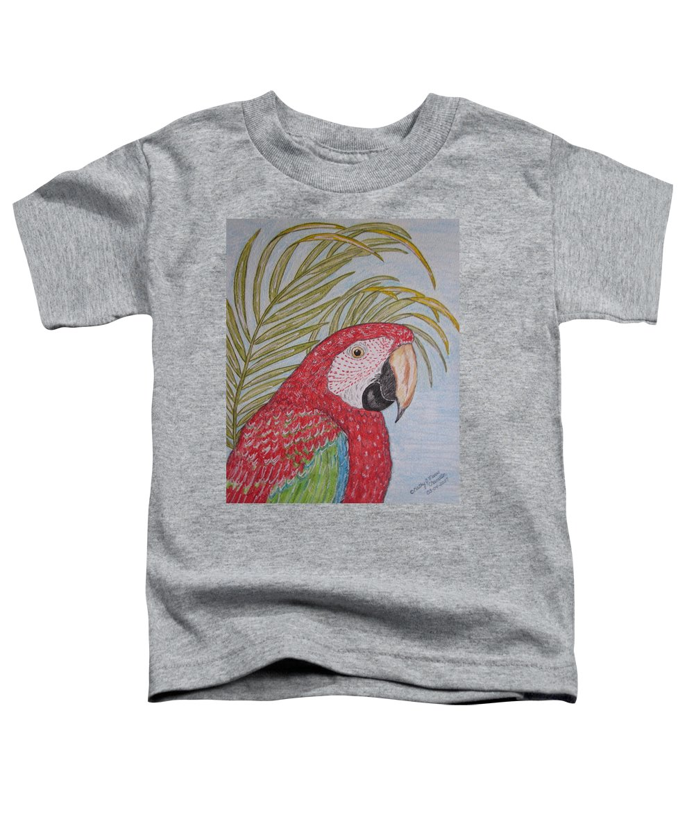 Green Wing Macaw Toddler T-Shirt featuring the painting Green Winged Macaw by Kathy Marrs Chandler