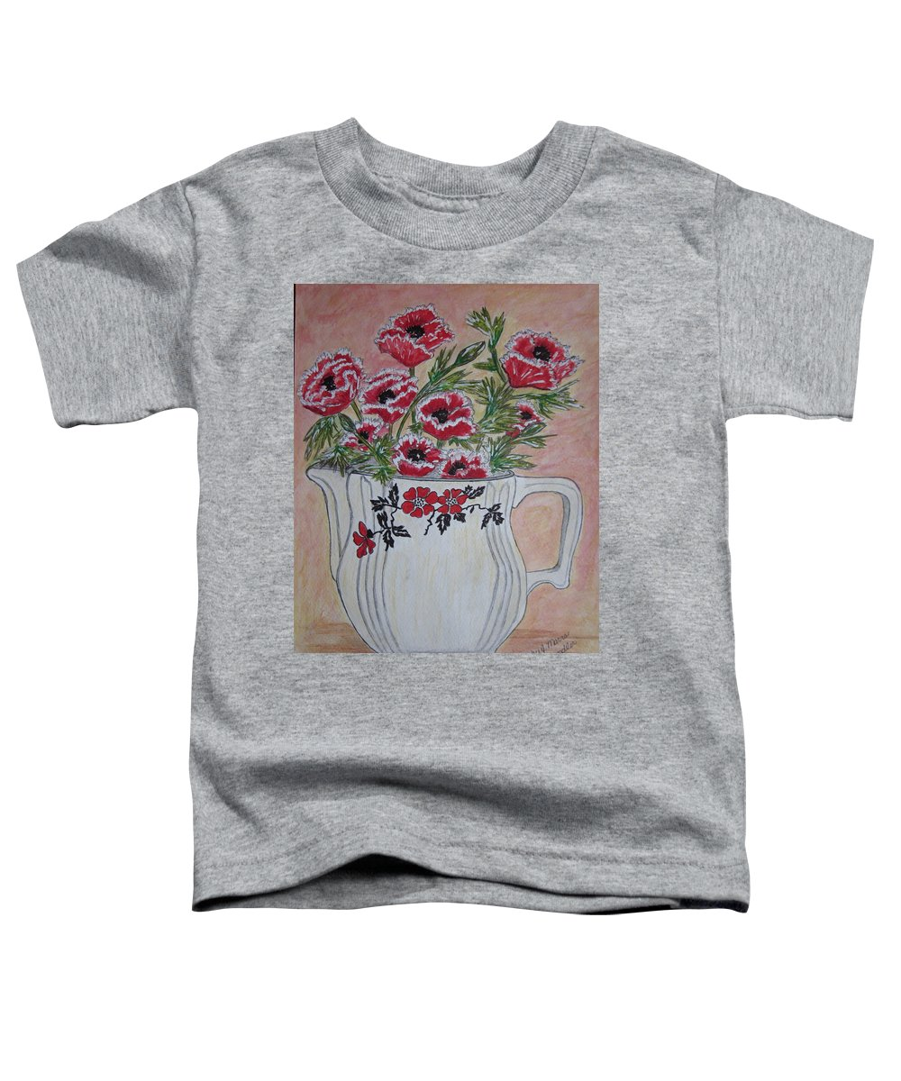 Hall China Toddler T-Shirt featuring the painting Hall China Red Poppy And Poppies by Kathy Marrs Chandler