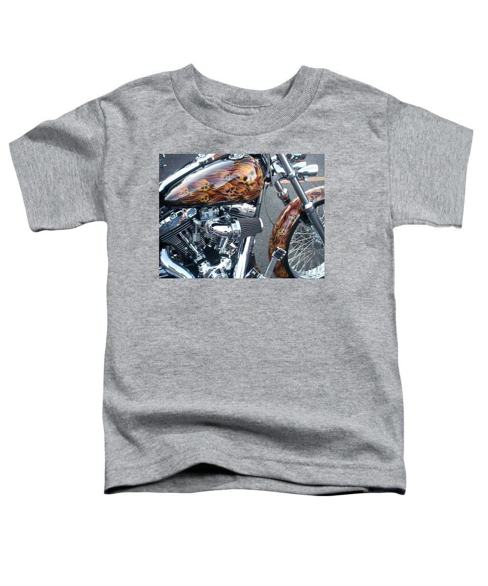 Motorcycles Toddler T-Shirt featuring the photograph Harley Close-up Skull Flame by Anita Burgermeister