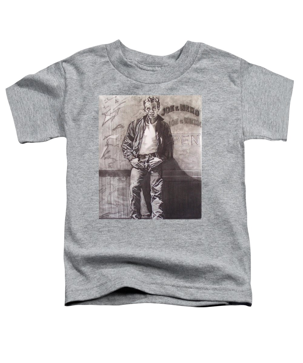 Charcoal; Icon;americana;cool;window;sidewalk;street;rock And Roll;jeans;t-shirt;diner;movie Star Toddler T-Shirt featuring the drawing James Dean by Sean Connolly