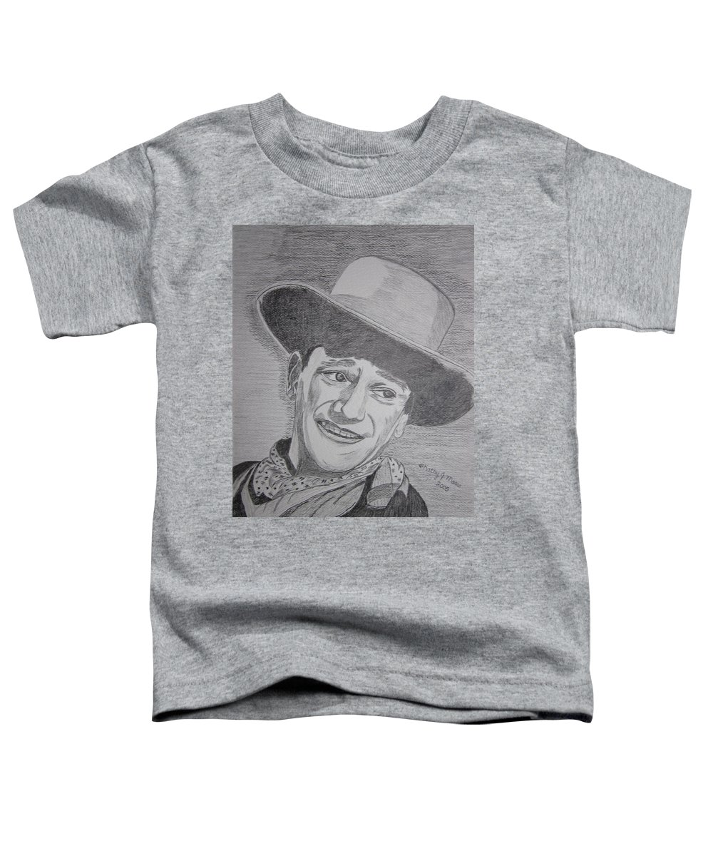 John Wayne Toddler T-Shirt featuring the painting John Wayne by Kathy Marrs Chandler