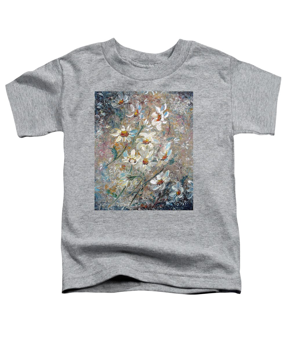 Daisies Painting Abstract Flower Painting Botanical Painting Bloom Greeting Card Painting Toddler T-Shirt featuring the painting Just Dasies by Karin Dawn Kelshall- Best