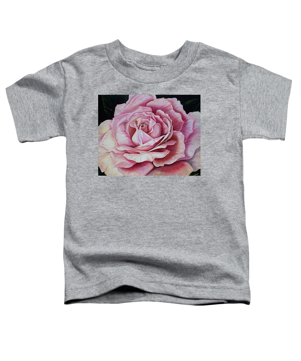 Rose Painting Pink Rose Painting  Floral Painting Flower Painting Botanical Painting Greeting Card Painting Toddler T-Shirt featuring the painting La Bella Rosa by Karin Dawn Kelshall- Best
