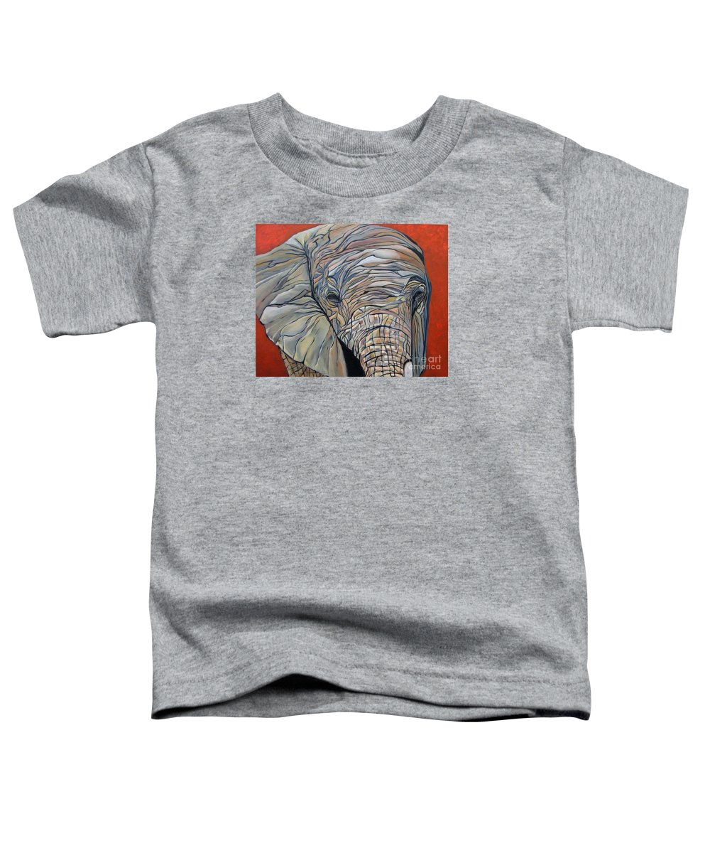 Elephant Toddler T-Shirt featuring the painting Lazy Boy by Aimee Vance