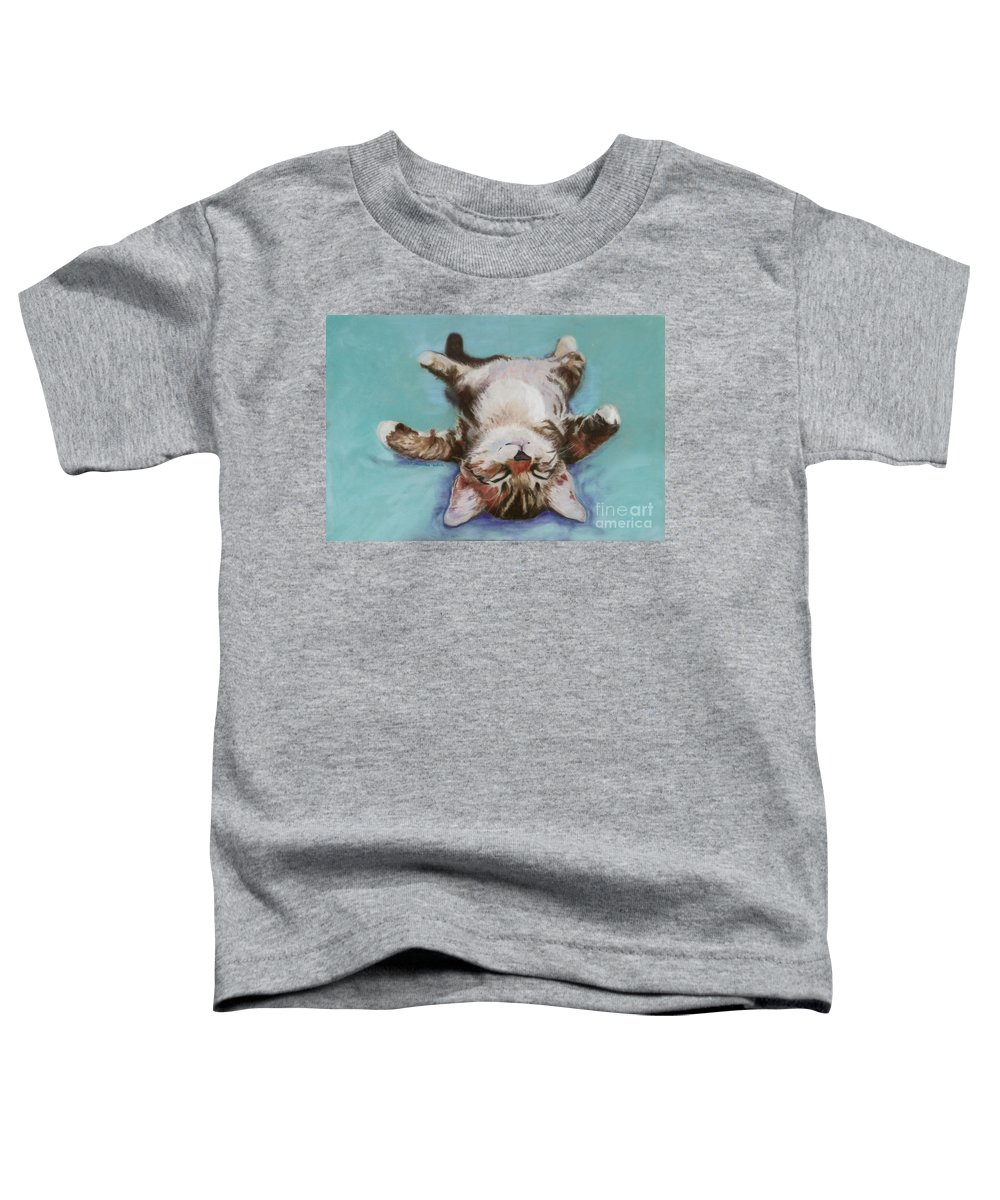 Cat Painting Toddler T-Shirt featuring the pastel Little Napper by Pat Saunders-White
