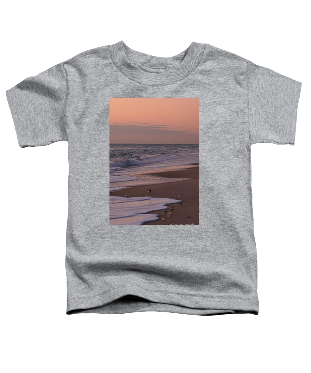 Beach Toddler T-Shirt featuring the photograph Morning Birds At The Beach by Nadine Rippelmeyer