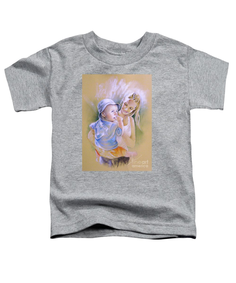 Portrait Toddler T-Shirt featuring the painting Mother And Son by Miki De Goodaboom