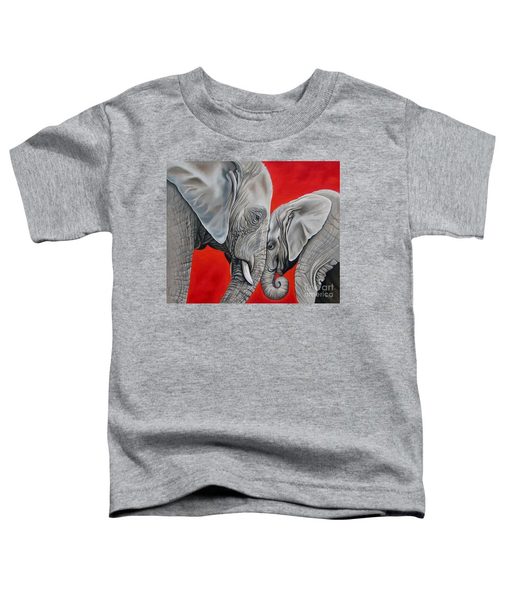 Elephant Toddler T-Shirt featuring the painting Mothers Love by Ilse Kleyn
