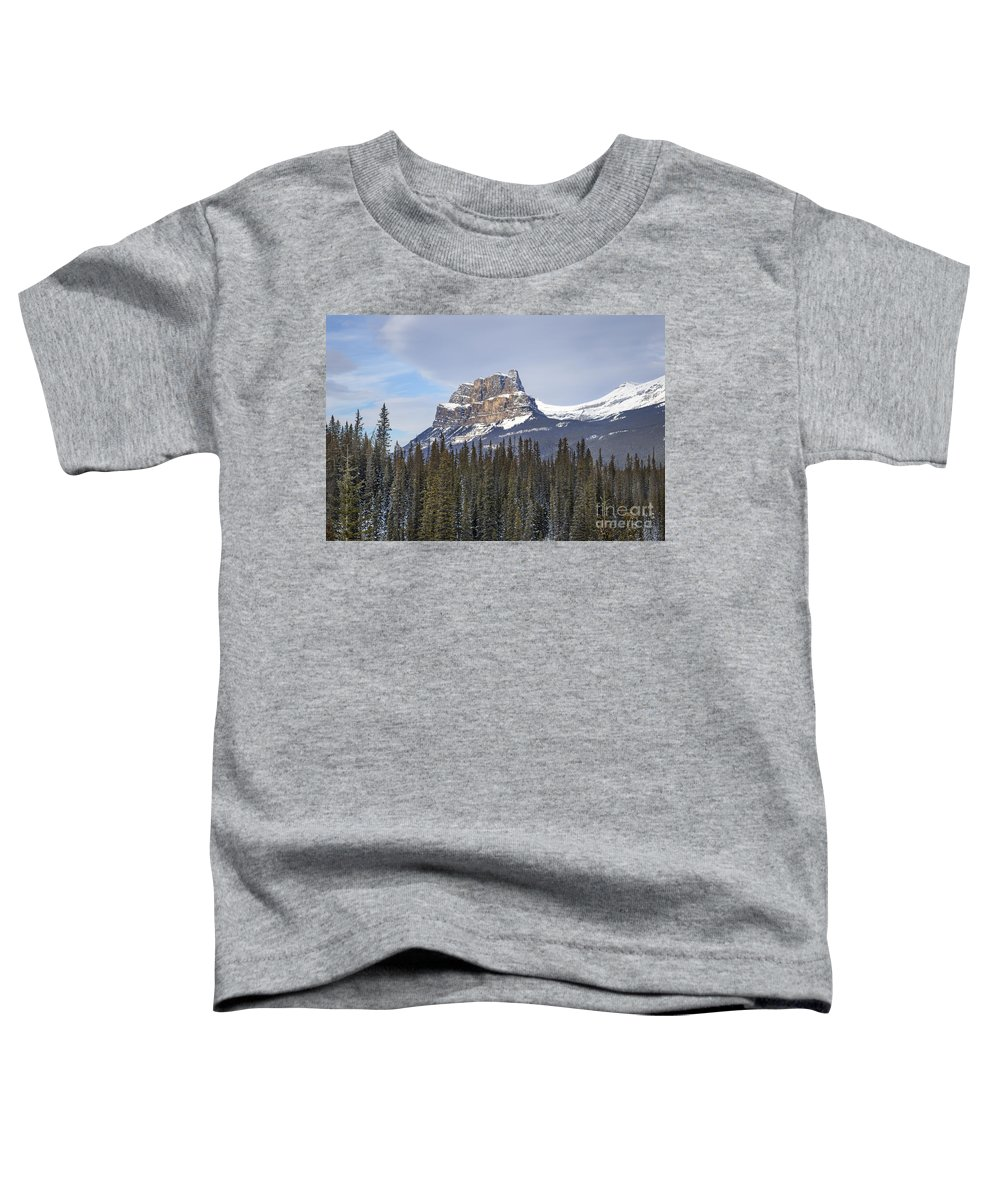 Banff Toddler T-Shirt featuring the photograph Mountain View by Evelina Kremsdorf
