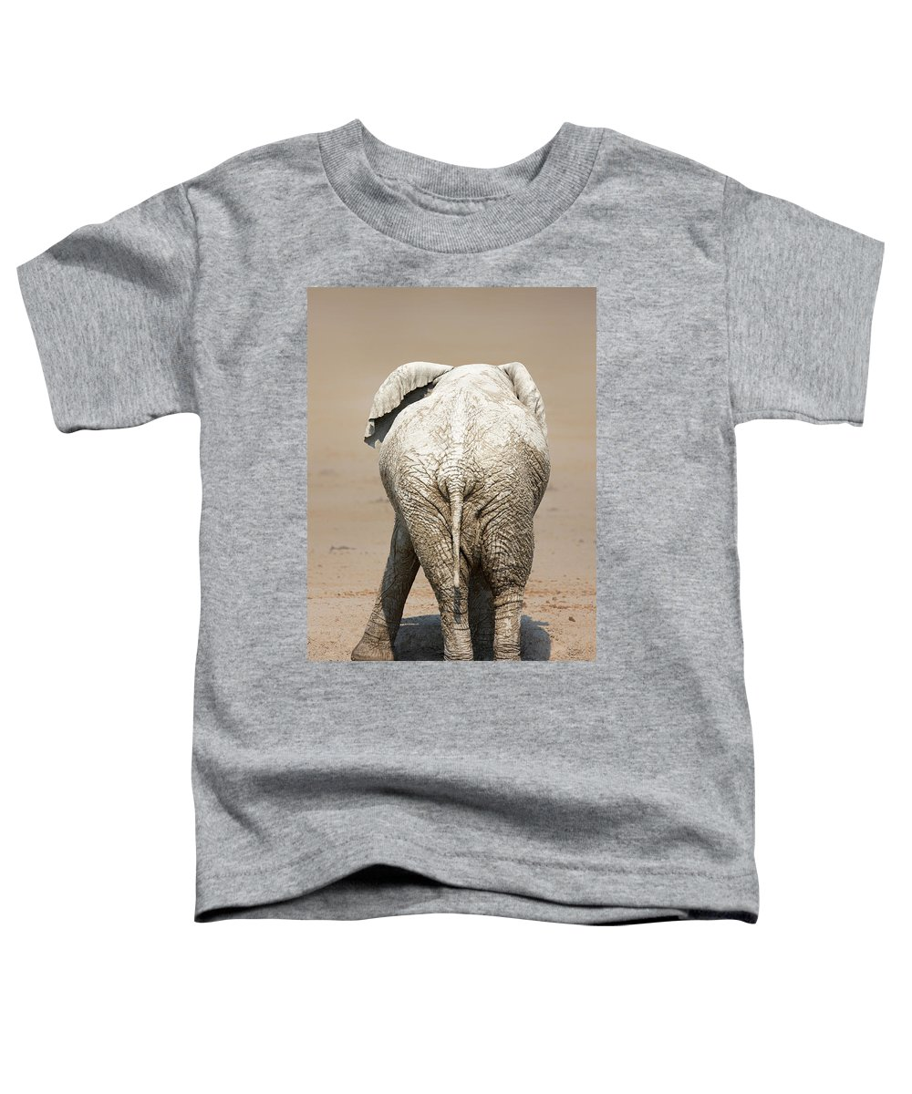 Elephant Toddler T-Shirt featuring the photograph Muddy Elephant With Funny Stance by Johan Swanepoel