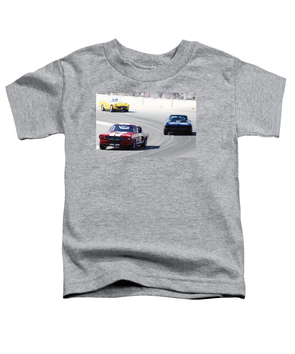 Mustang Toddler T-Shirt featuring the painting Mustang and Corvette Racing Watercolor by Naxart Studio