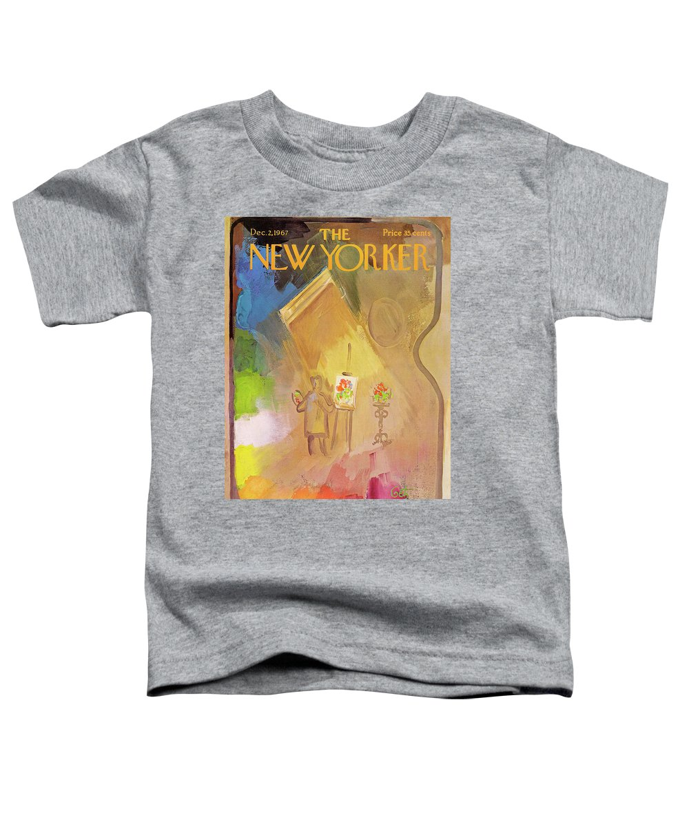 Arthur Getz Agt Toddler T-Shirt featuring the painting New Yorker December 2nd, 1967 by Arthur Getz