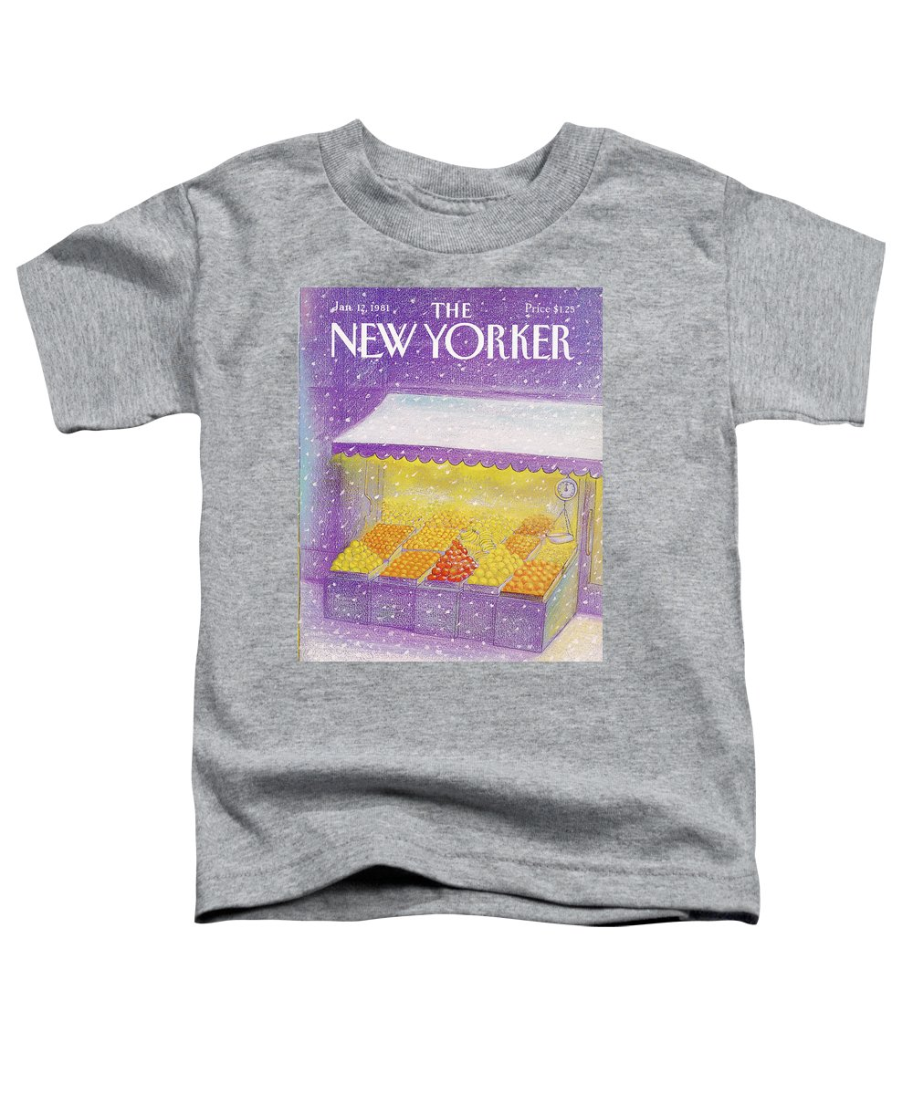 Season Toddler T-Shirt featuring the painting New Yorker January 12th, 1981 by Eugene Mihaesco