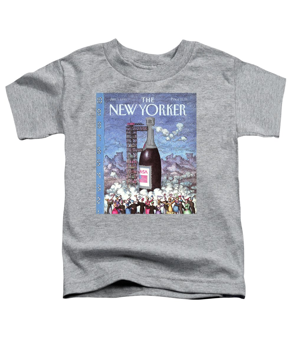 Holidays Toddler T-Shirt featuring the painting New Yorker January 1st, 1990 by John O'Brien