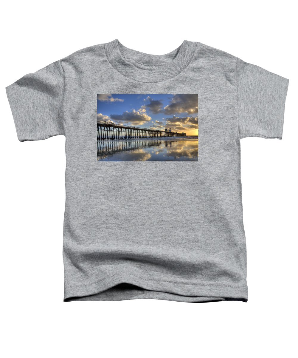 California Toddler T-Shirt featuring the photograph Oceanside Pier Sunset Reflection by Peter Tellone