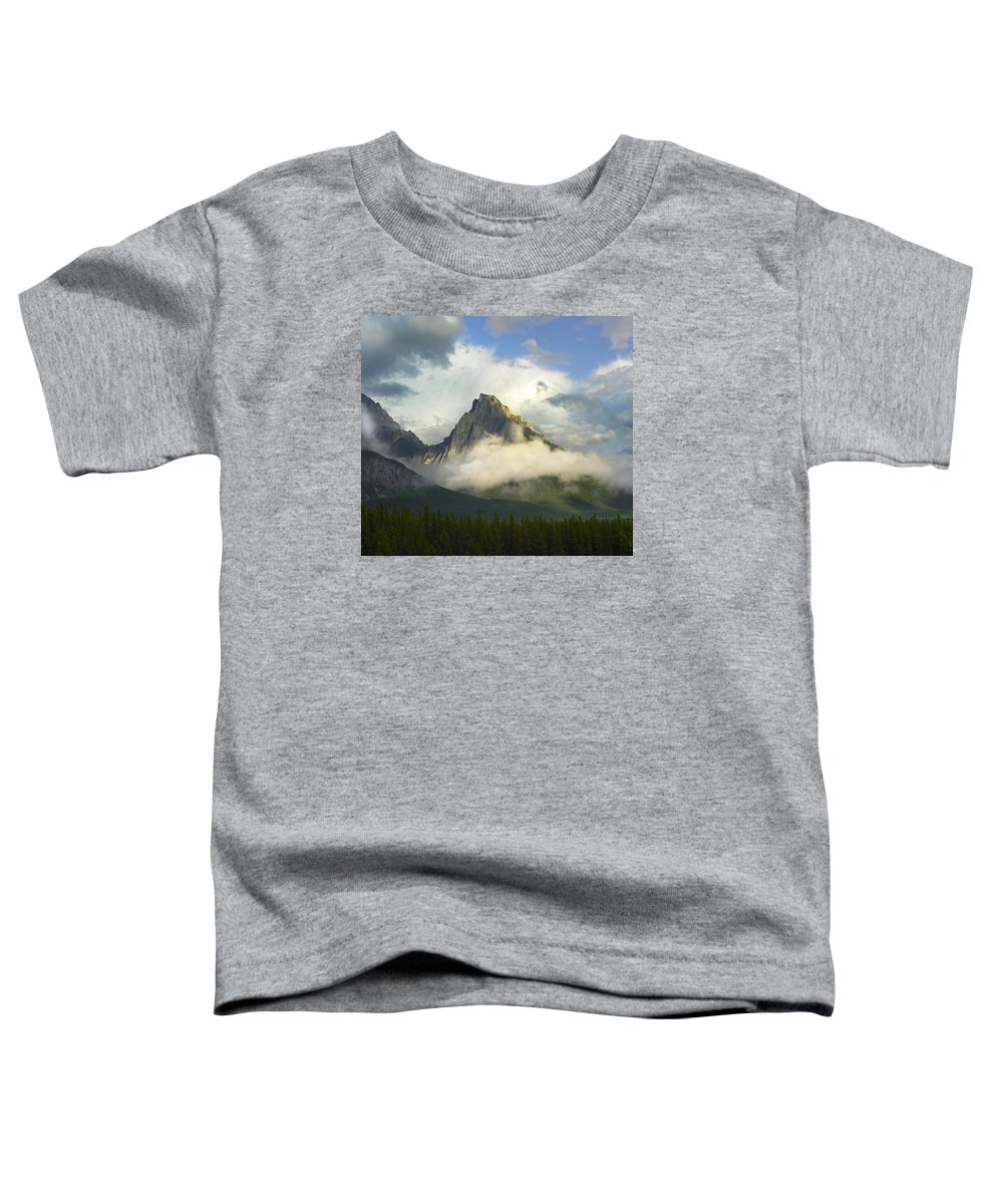 Feb0514 Toddler T-Shirt featuring the photograph Opal Range In Fog Kananaskis Country by Tim Fitzharris