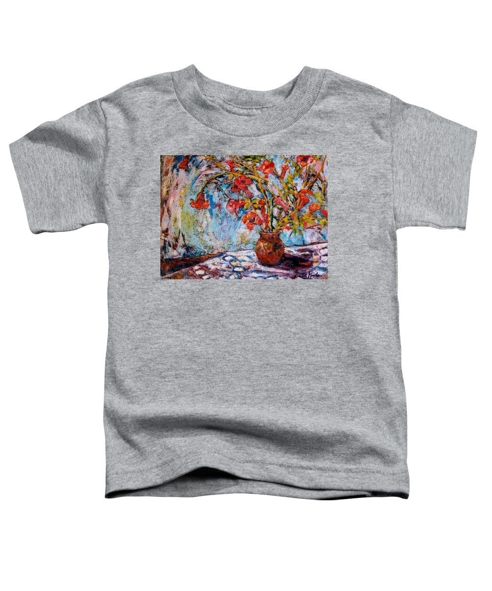 Trumpet Flowers Toddler T-Shirt featuring the painting Orange Trumpet Flowers by Kendall Kessler