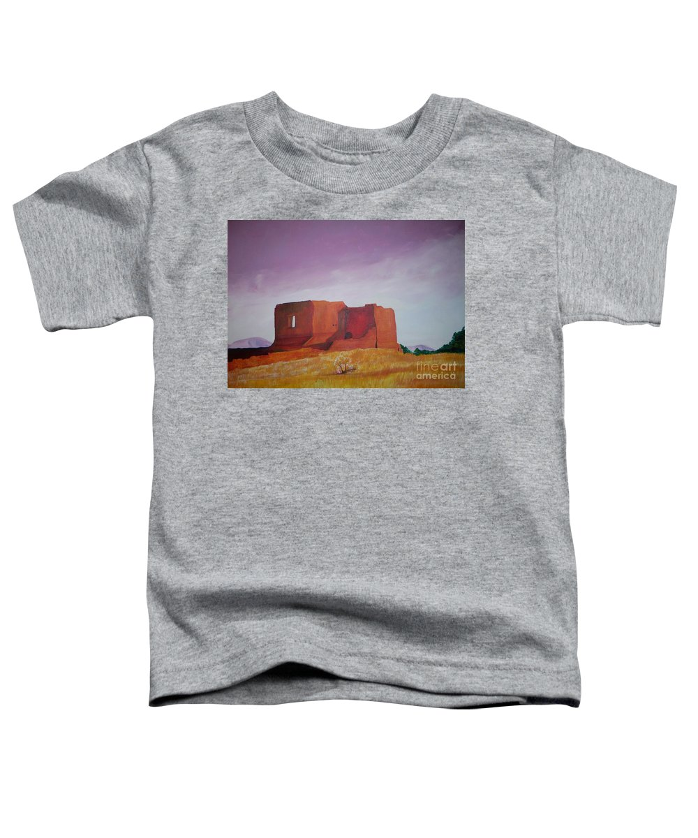 Western Toddler T-Shirt featuring the painting Pecos Mission Landscape by Eric Schiabor