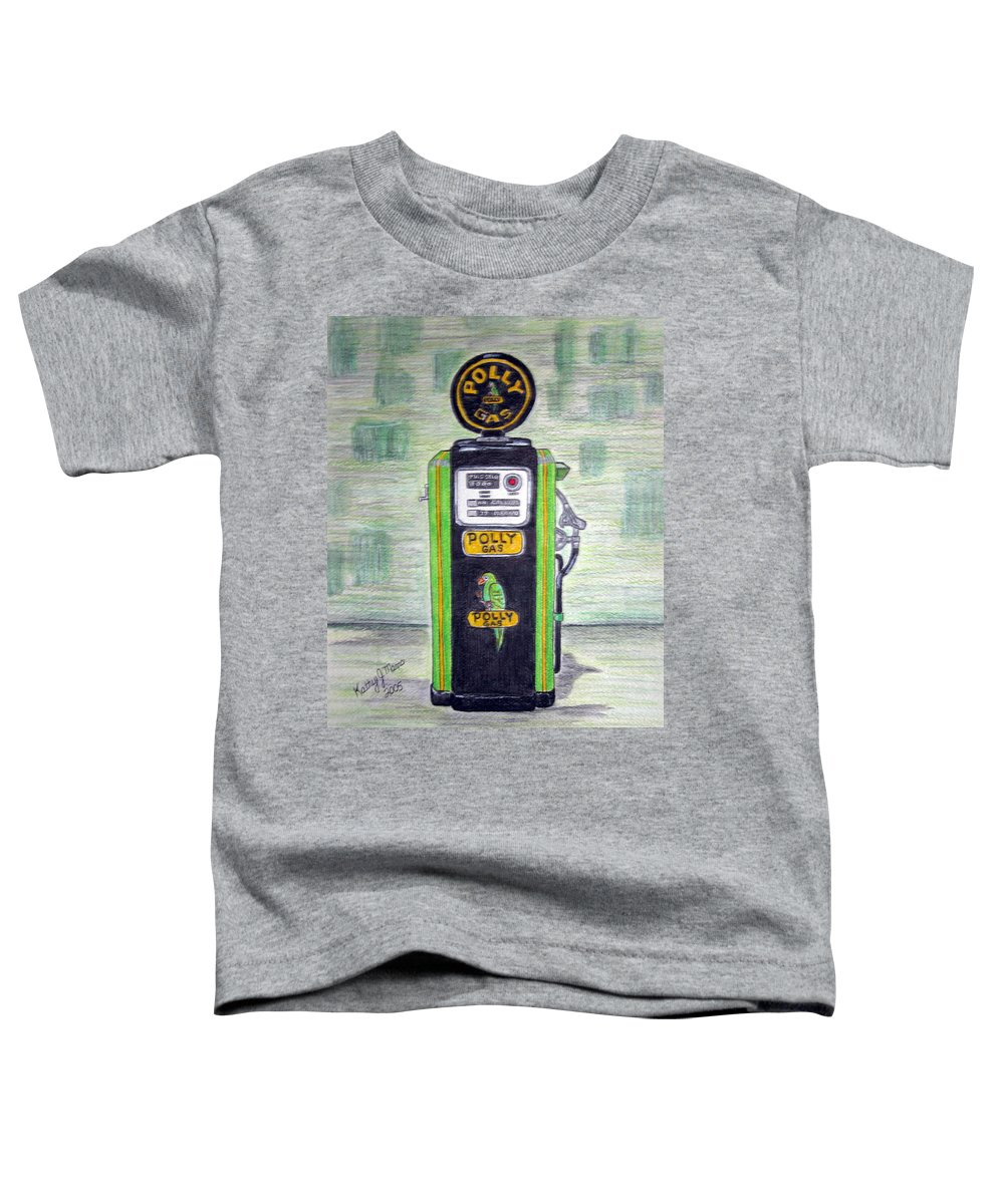 Parrot Toddler T-Shirt featuring the painting Polly Gas Pump by Kathy Marrs Chandler