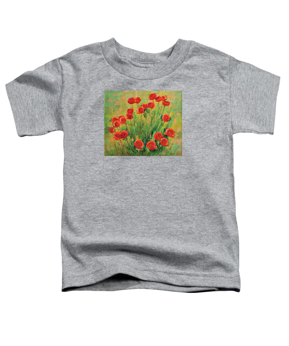 Poppies Toddler T-Shirt featuring the painting Poppies by Iliyan Bozhanov