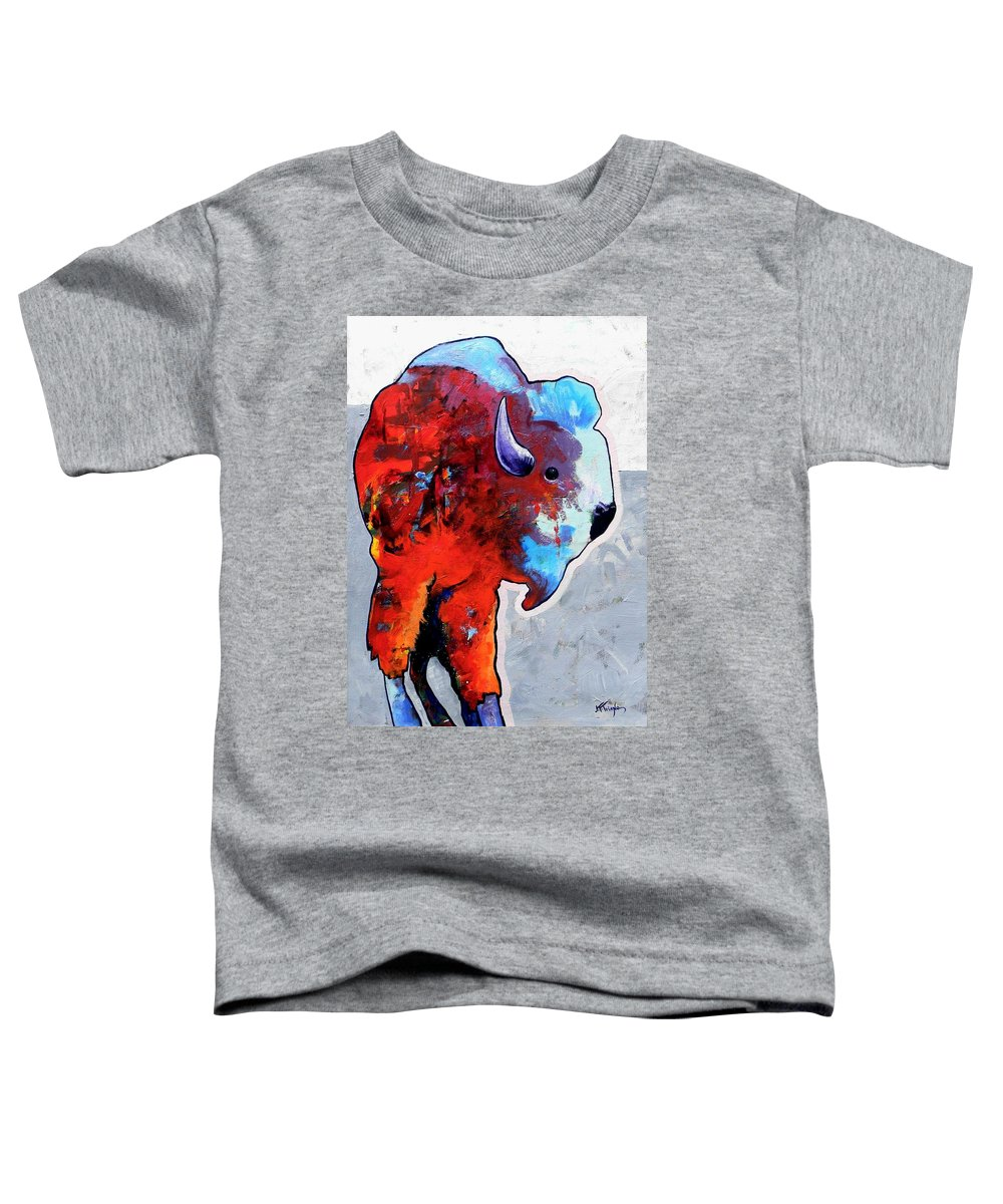 Wildlife Toddler T-Shirt featuring the painting Rainbow Warrior Bison by Joe Triano