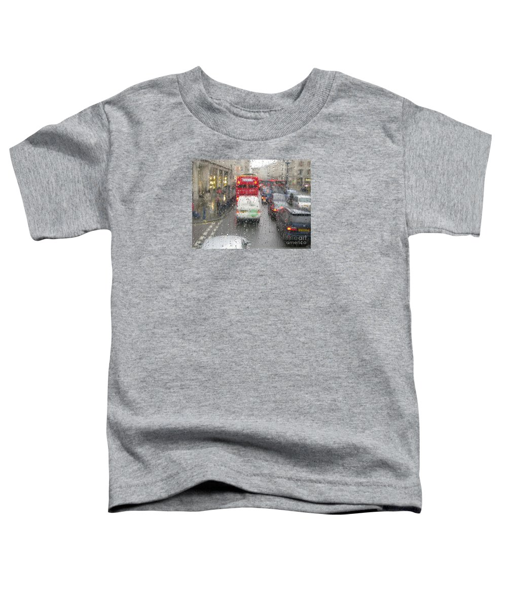 Rainy Day London Traffic By Ann Horn Toddler T-Shirt featuring the photograph Rainy Day London Traffic by Ann Horn