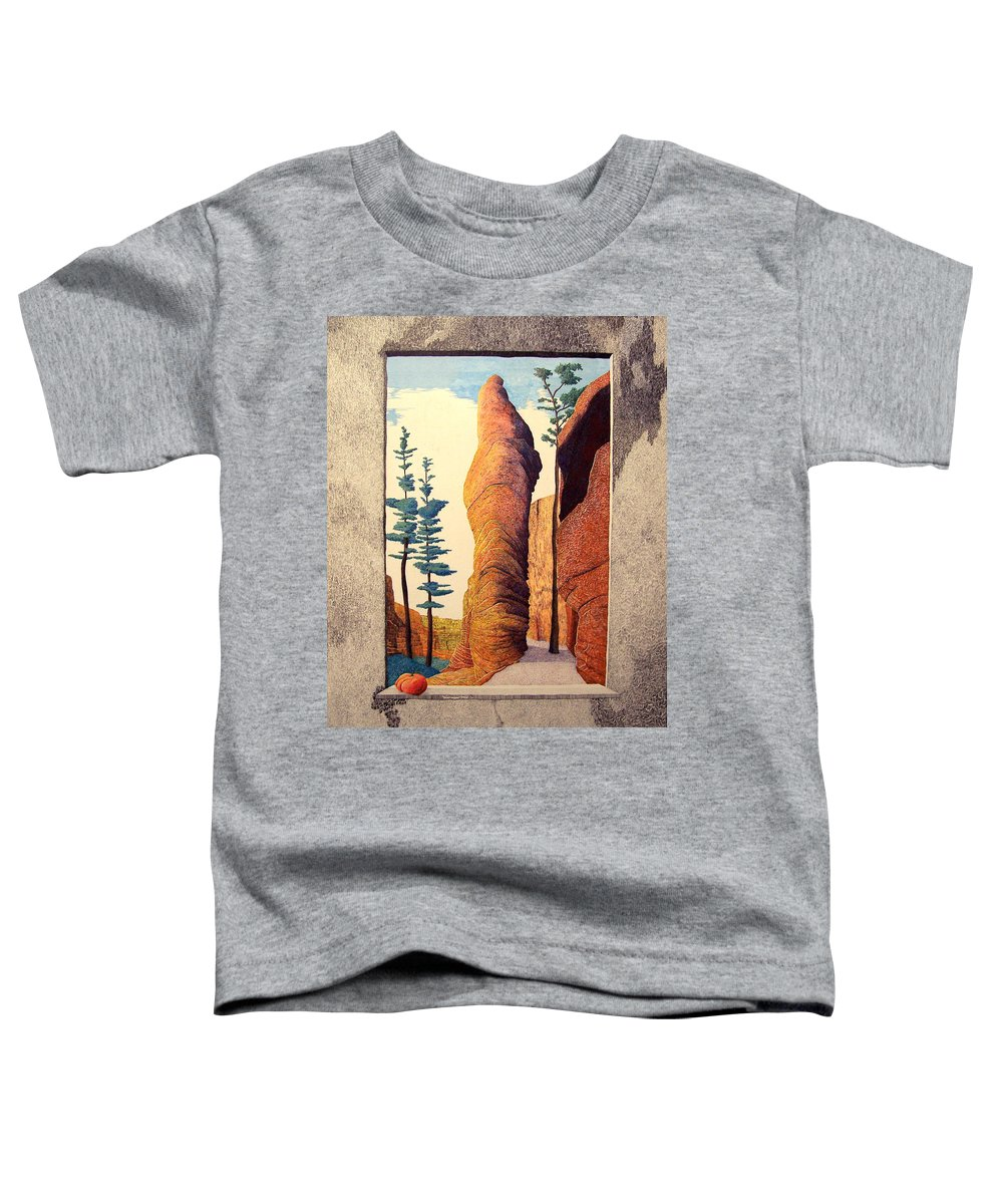 Landscape Toddler T-Shirt featuring the painting Reared Window by A Robert Malcom