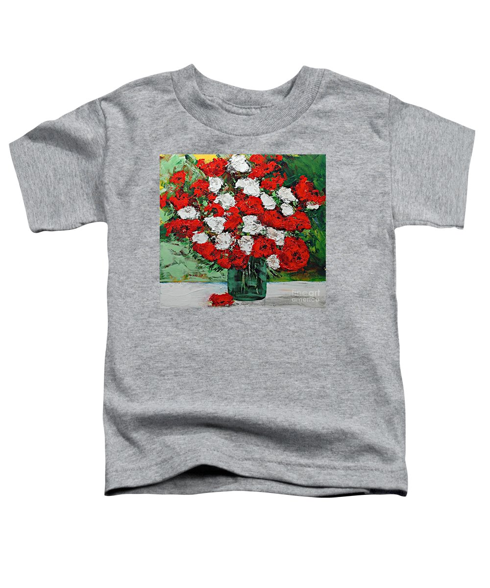 Landscape Toddler T-Shirt featuring the painting Red Explosion by Allan P Friedlander