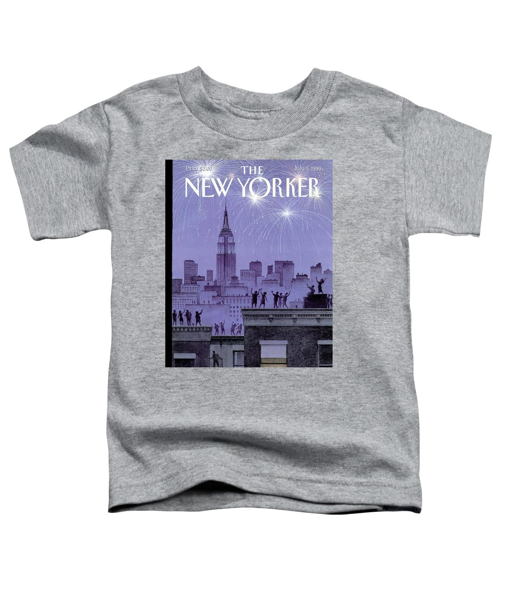 Harry Bliss Hbl Toddler T-Shirt featuring the painting Rooftop Revelers Celebrate New Year's Eve by Harry Bliss