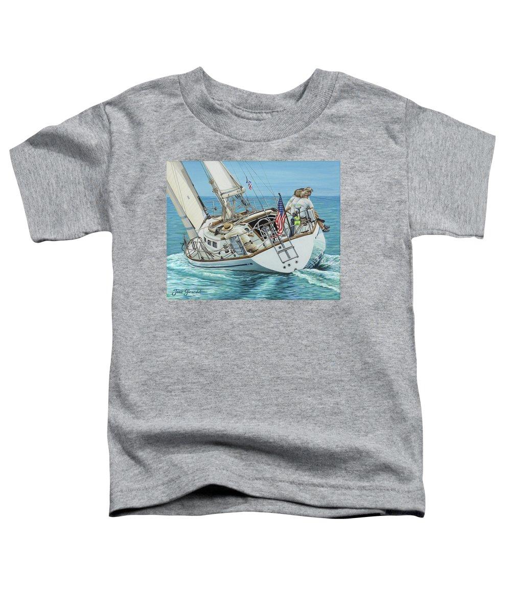 Ocean Toddler T-Shirt featuring the painting Sailing Away by Jane Girardot