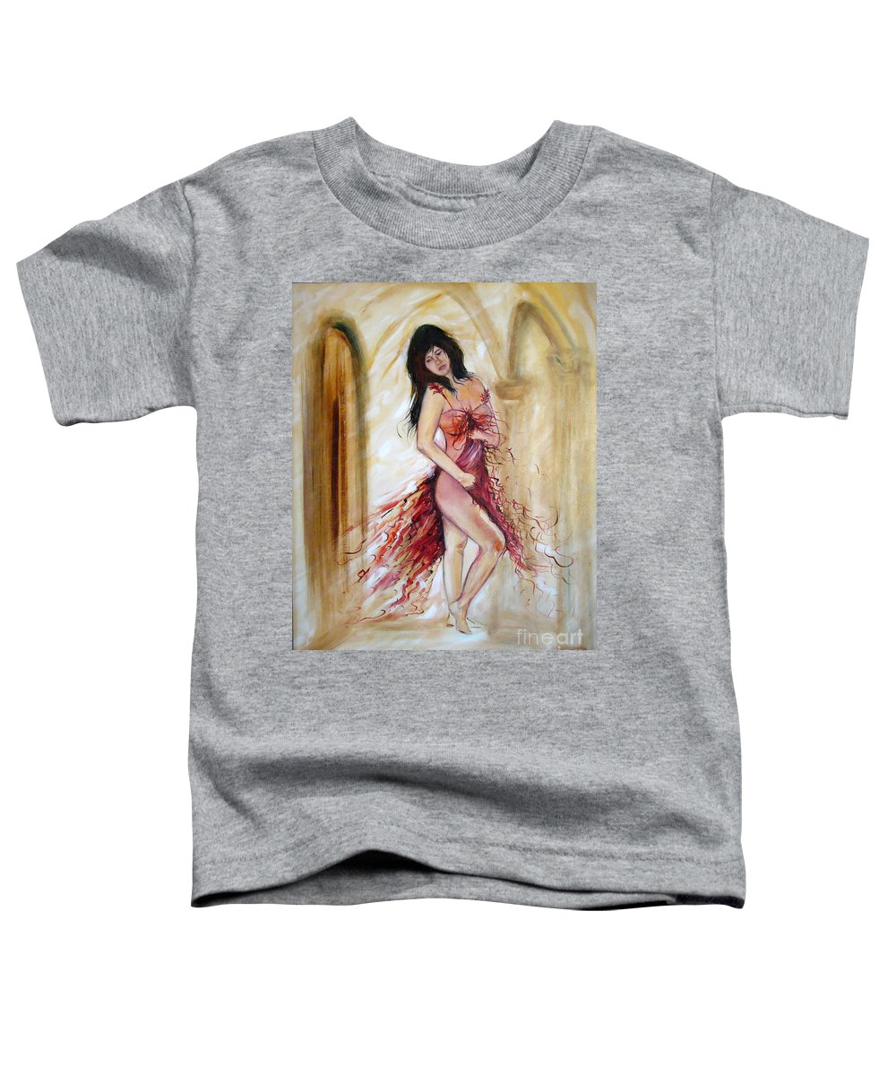 Contemporary Art Toddler T-Shirt featuring the painting She by Silvana Abel