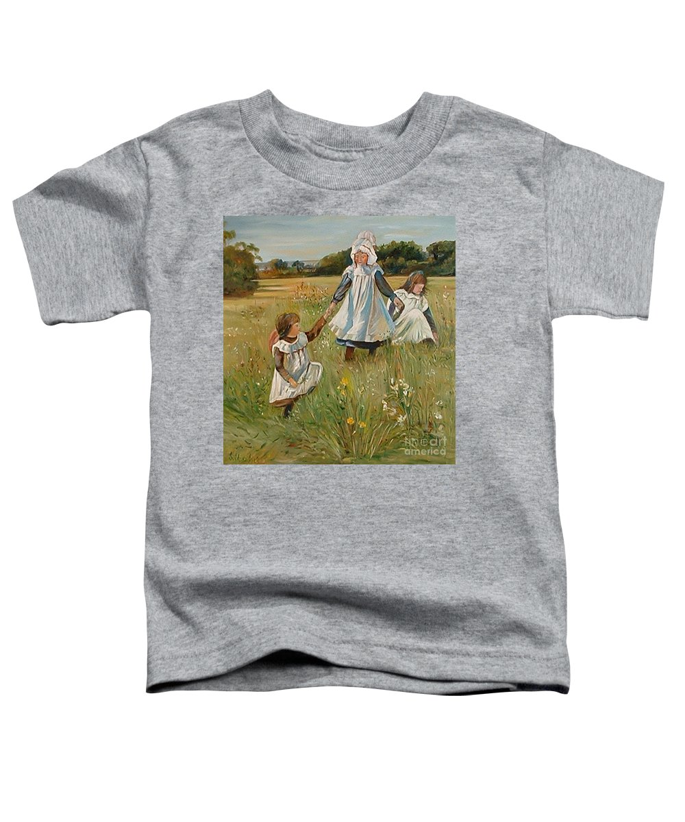 Classic Art Toddler T-Shirt featuring the painting Sisters by Silvana Abel