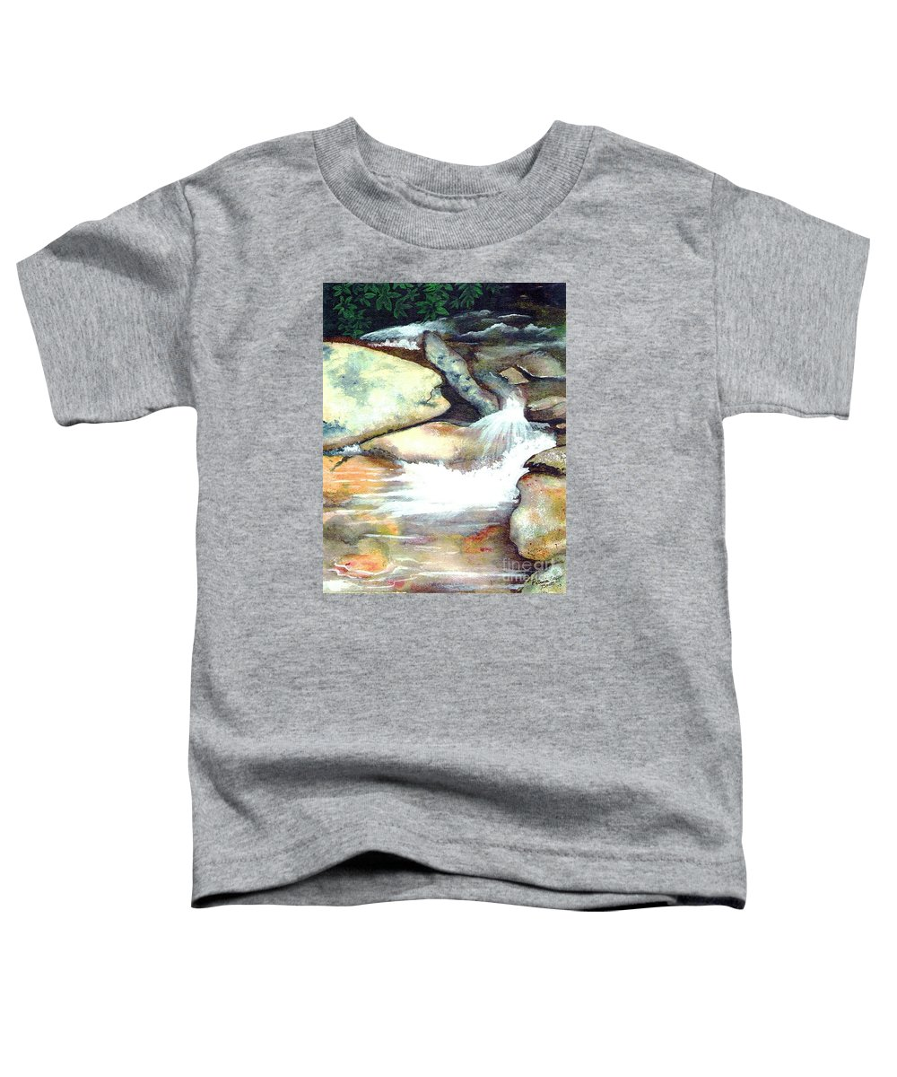 Fine Art Toddler T-Shirt featuring the painting Smoky Mountains Waterfall by Patricia Griffin Brett