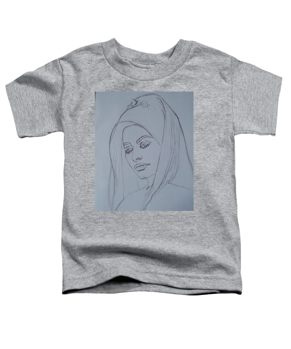 Woman Toddler T-Shirt featuring the drawing Sophia Loren In Headdress by Sean Connolly