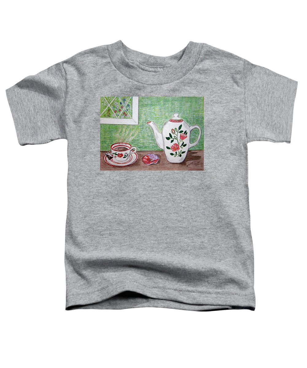 Stangl Pottery Toddler T-Shirt featuring the painting Stangl Pottery Rose Pattern by Kathy Marrs Chandler