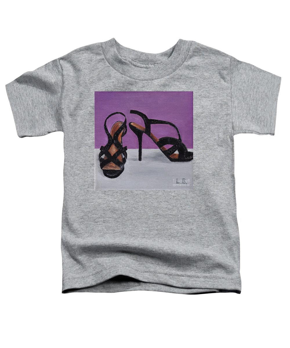 Strappy Toddler T-Shirt featuring the painting Strappy Black Heels For Maddy by Laurel Best