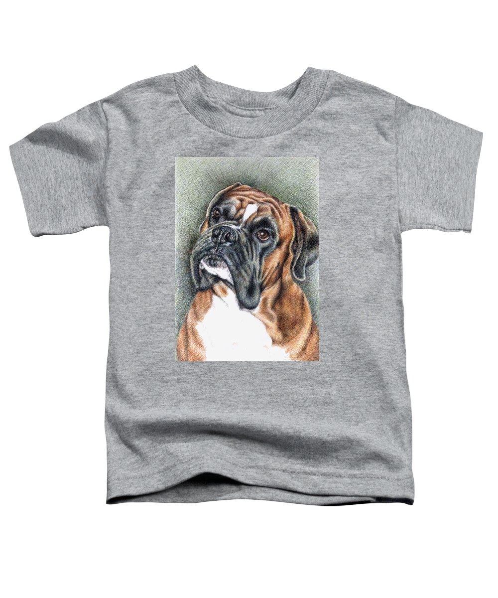 Dog Toddler T-Shirt featuring the drawing The Boxer by Nicole Zeug