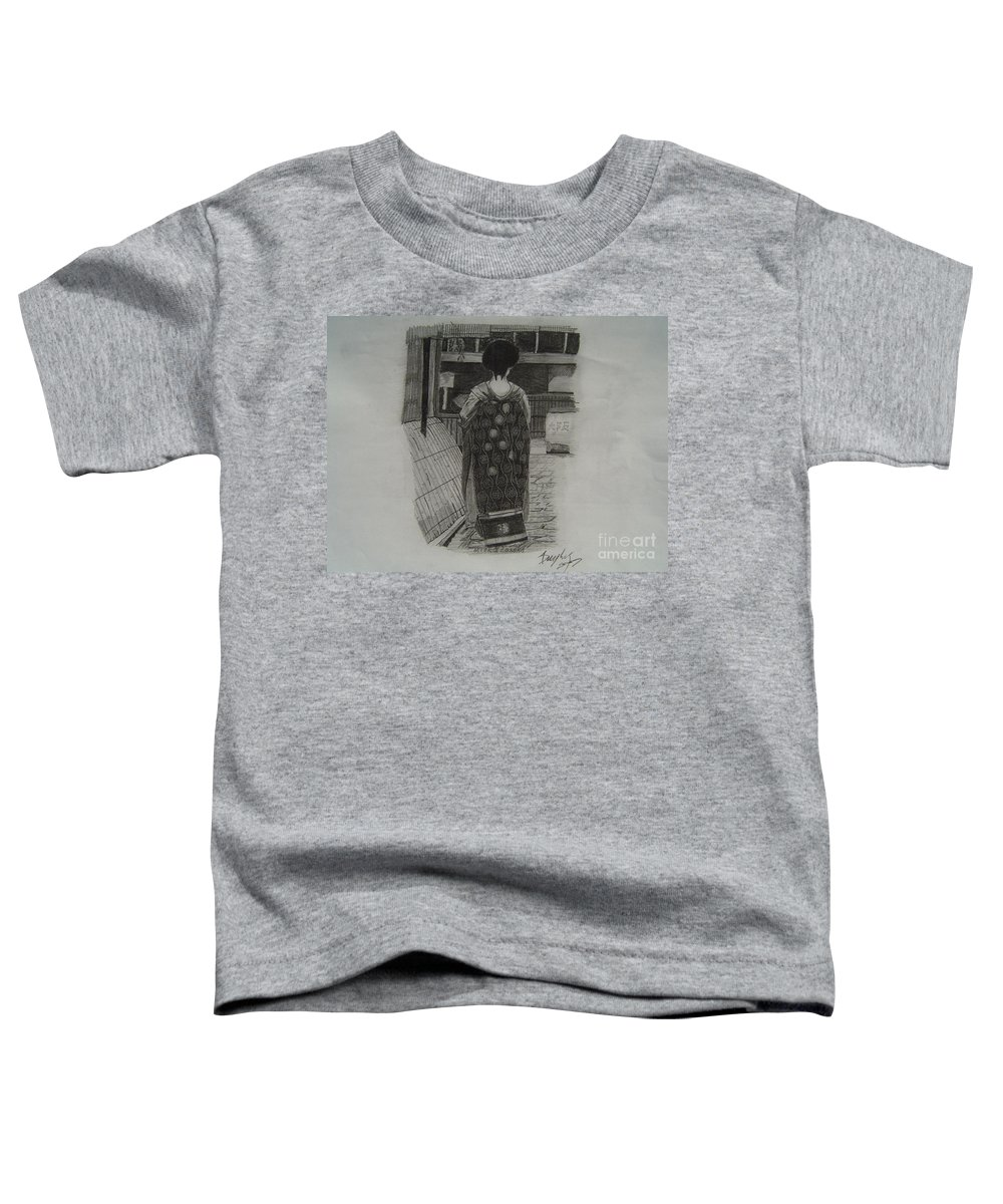 Geisha Toddler T-Shirt featuring the drawing The Geisha by Anthony Dunphy