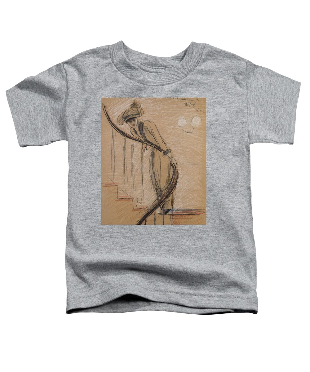 Woman Toddler T-Shirt featuring the drawing The Staircase by Paul Cesar Helleu