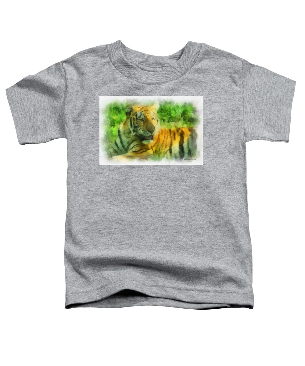 Feline Toddler T-Shirt featuring the photograph Tiger Resting Photo Art 01 by Thomas Woolworth