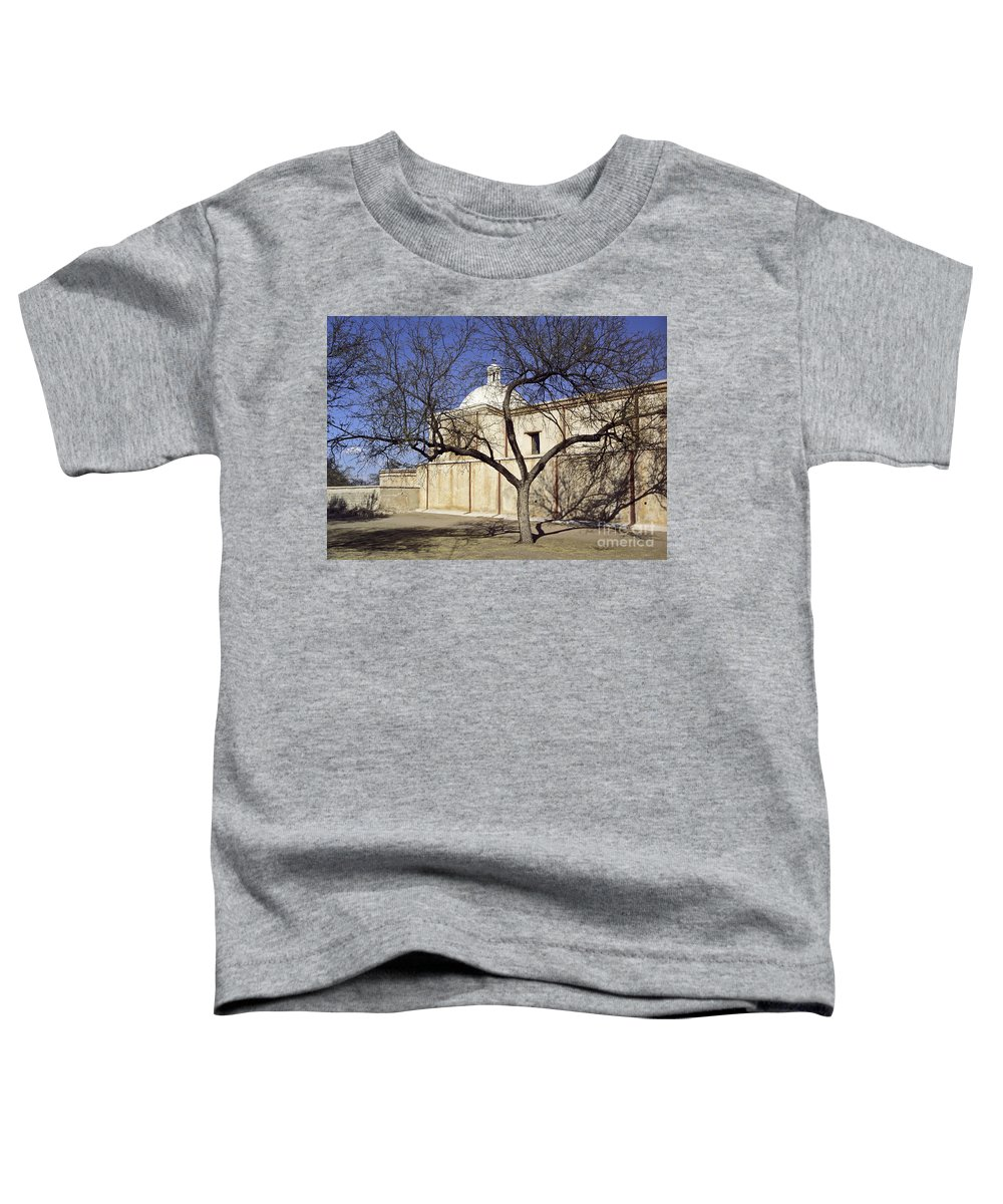 Mission Toddler T-Shirt featuring the photograph Tumacacori With Tree by Kathy McClure
