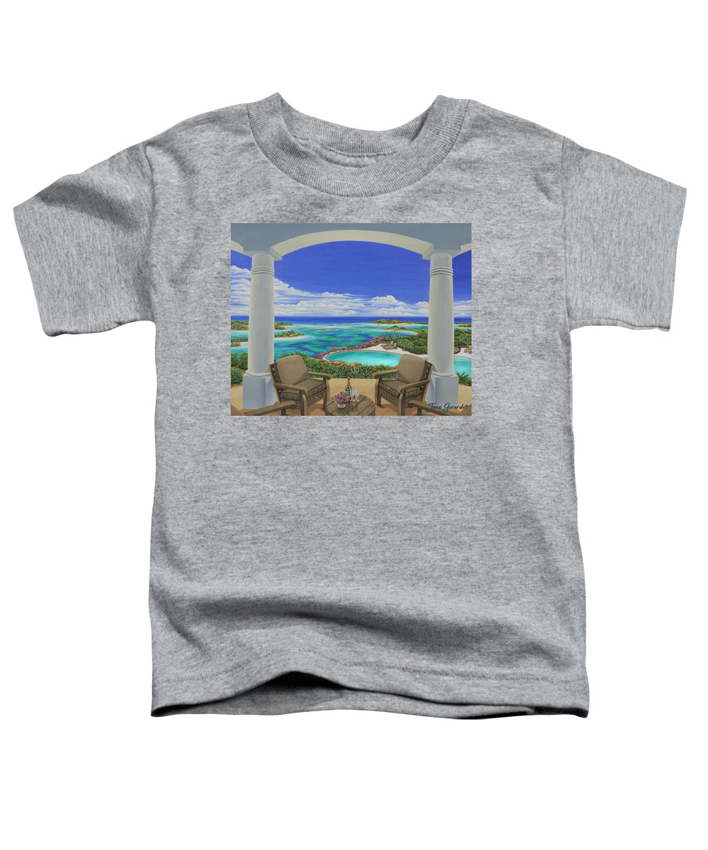 Ocean Toddler T-Shirt featuring the painting Vacation View by Jane Girardot