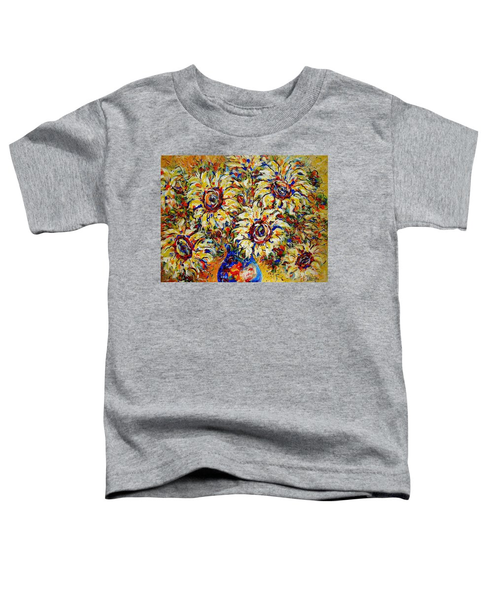 Flowers Toddler T-Shirt featuring the painting Vibrant Sunflower Essence by Natalie Holland
