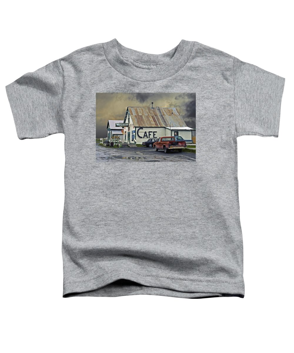 Alaska Toddler T-Shirt featuring the photograph Vintage Alaska Cafe by Ron Day