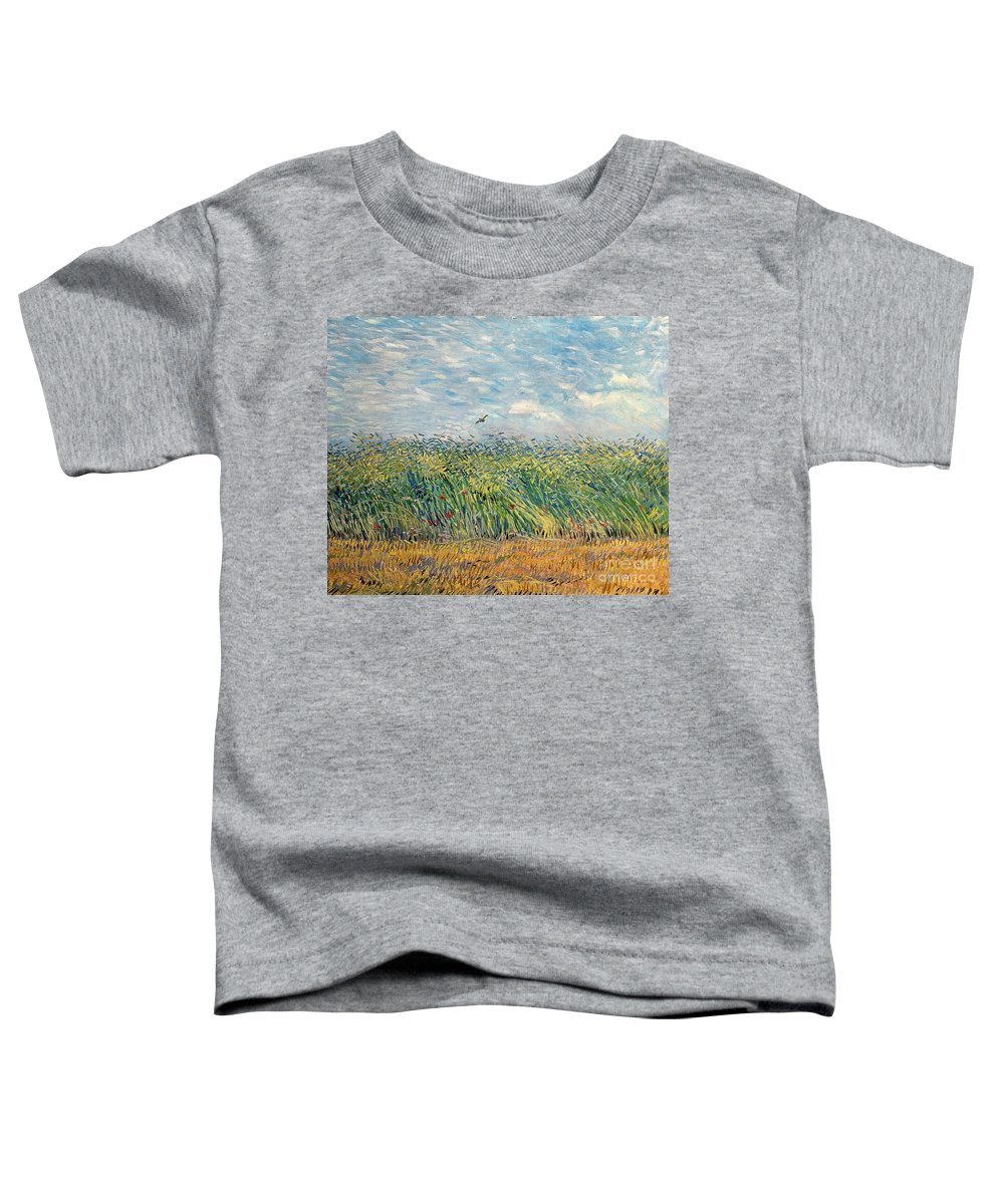 Post-impressionist; Wheat Field; Landscape; Bird; Poppies; Actually A Partridge Toddler T-Shirt featuring the painting Wheatfield With Lark by Vincent van Gogh