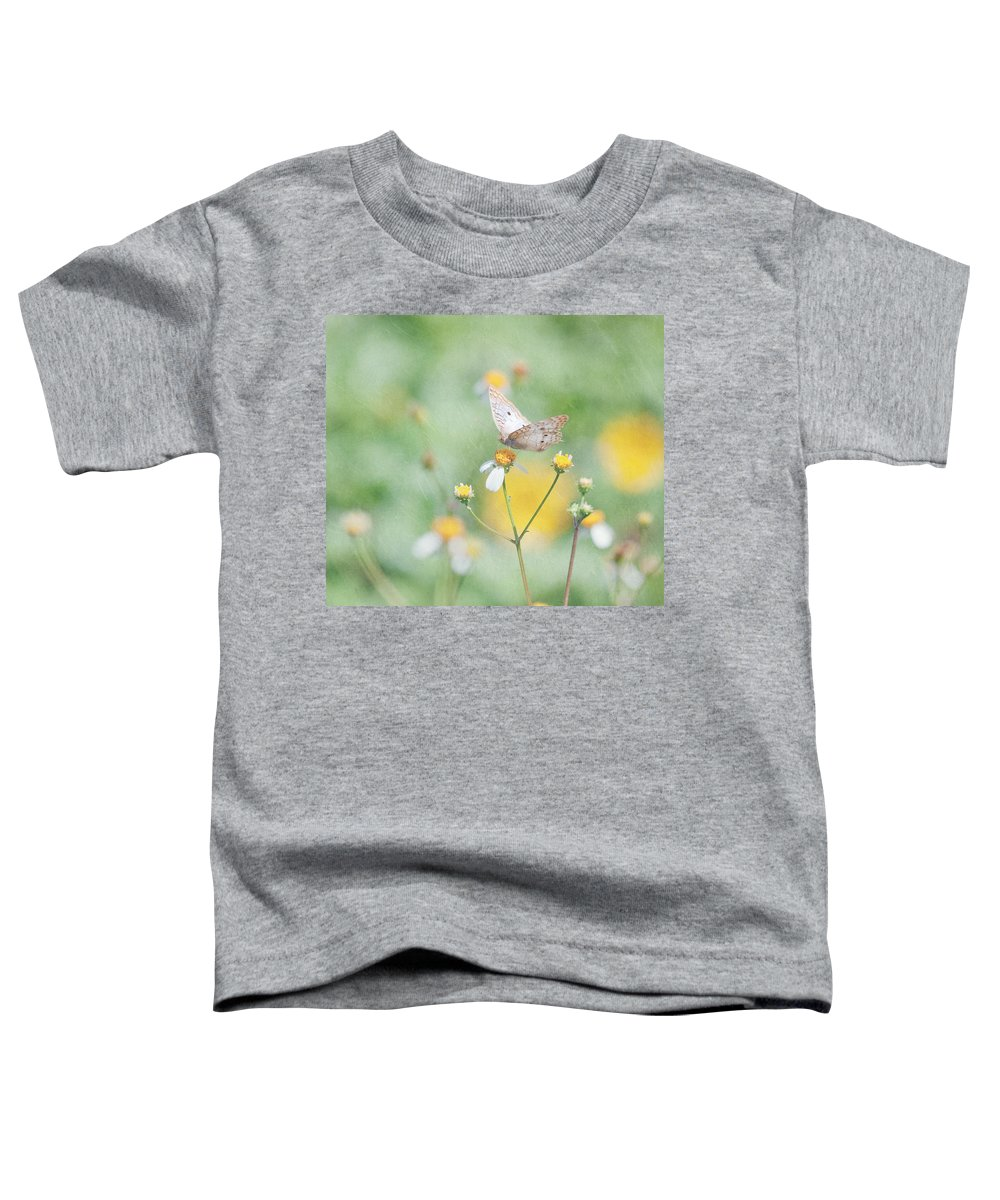 Butterfly Toddler T-Shirt featuring the photograph White Peacock Butterfly by Kim Hojnacki