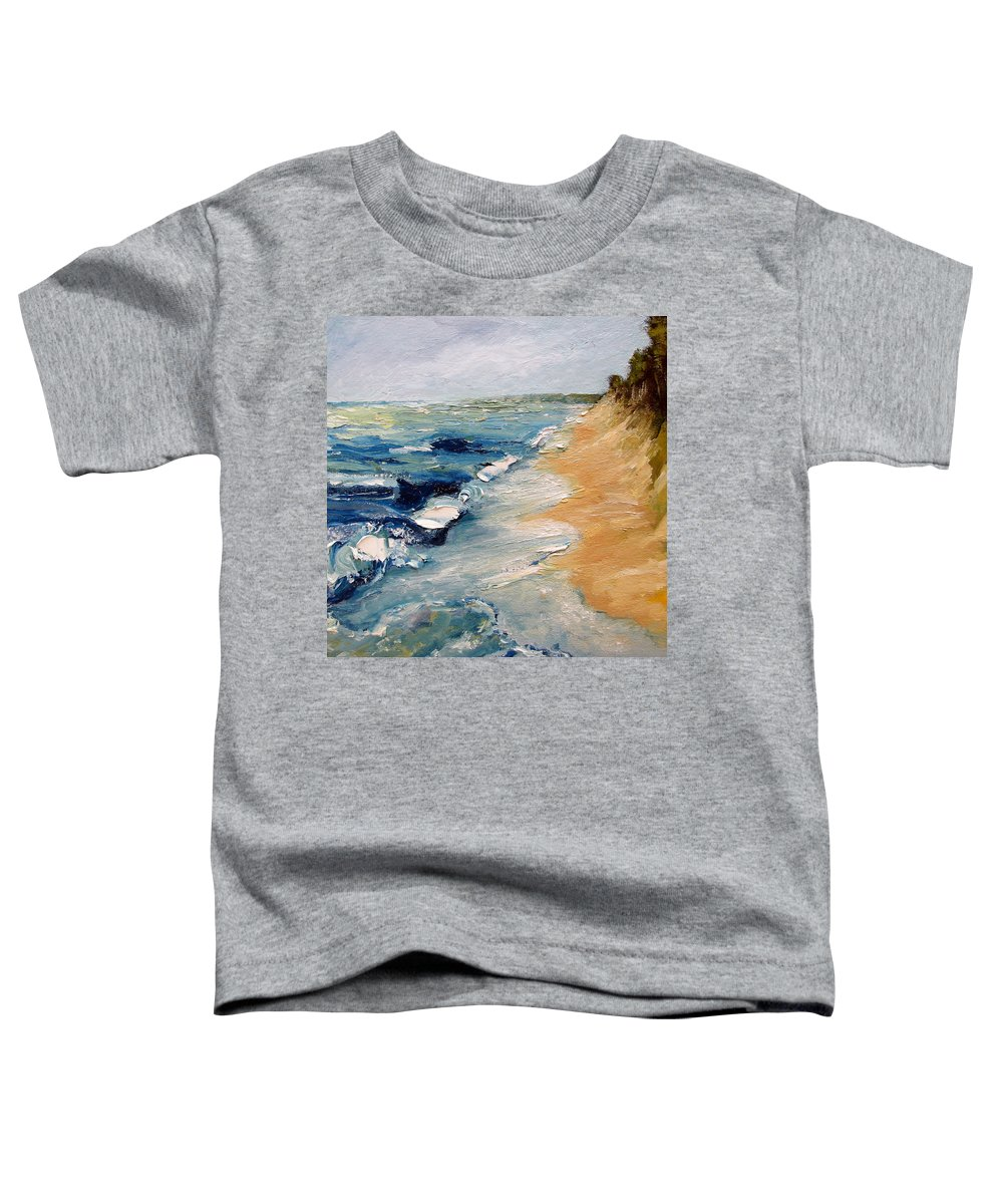 Whitecaps Toddler T-Shirt featuring the painting Whitecaps On Lake Michigan 3.0 by Michelle Calkins